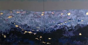 Dusk, Med, Dusk on the Med, by Amy Dyson, painting, view from deck of the Bondo in Cannes