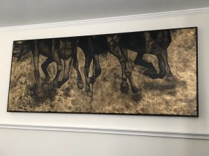 Horses, galloping, legs, Amy Dyson, Oil paint on gold leafed canvas, diptych