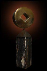 Pi, stainless steel, granite, kinetic sculpture, rotating