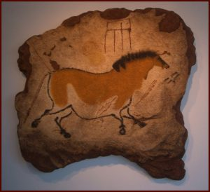 Galloping Mare of Lascaux, prehistoric cave reproduction, Upper Paleolithic art, One Zen Place Art Gallery, Vero Beach, Florida